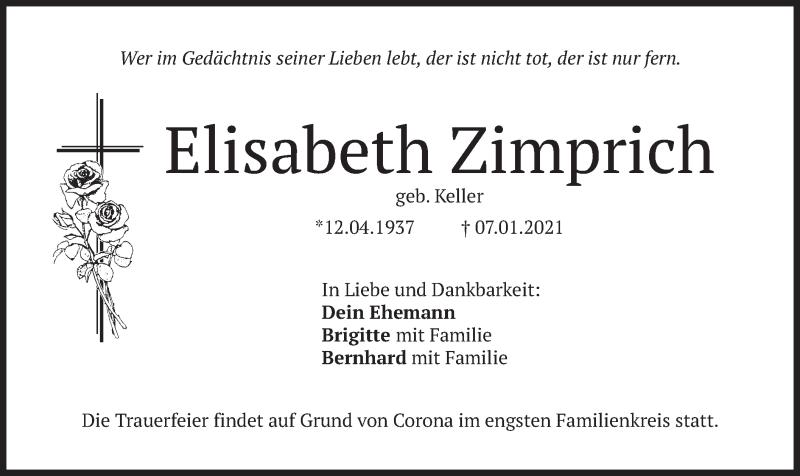 Traueranzeige für Elisabeth Zimprich vom 11.01.2021 aus merkurtz