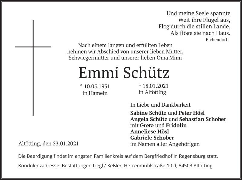 Traueranzeige für Emmi Schütz vom 23.01.2021 aus merkurtz