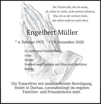 Traueranzeige von Engelbert Müller von merkurtz