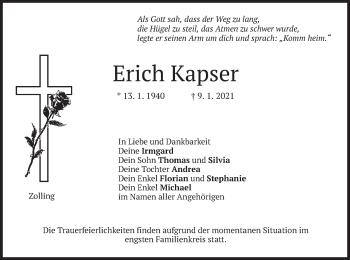 Traueranzeige von Erich Kapser von merkurtz