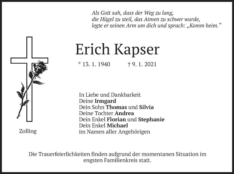 Traueranzeige für Erich Kapser vom 12.01.2021 aus merkurtz