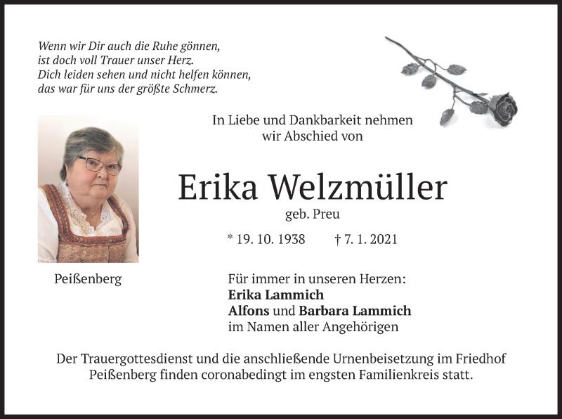 Traueranzeige für Erika Welzmüller vom 13.01.2021 aus merkurtz