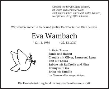 Traueranzeige von Eva Wambach von merkurtz