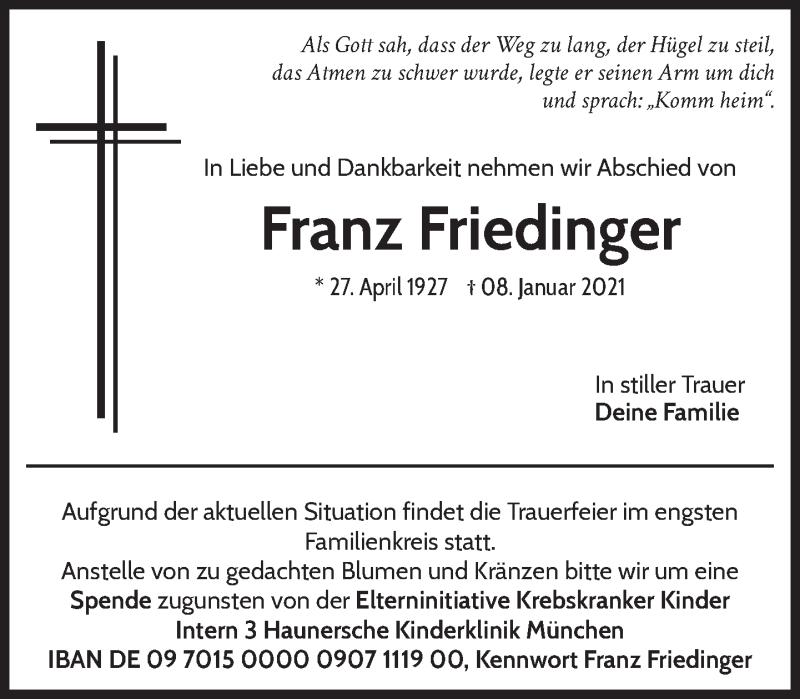 Traueranzeige für Franz Friedinger vom 15.01.2021 aus Das Gelbe Blatt Penzberg