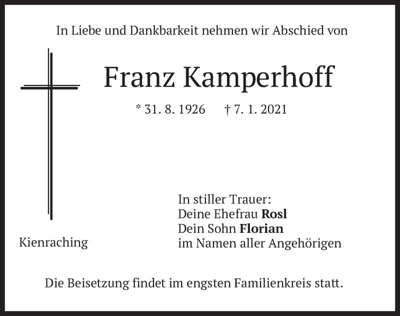 Traueranzeige für Franz Kamperhoff vom 09.01.2021 aus merkurtz