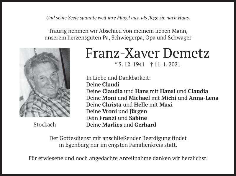 Traueranzeige für Franz-Xaver Demetz vom 12.01.2021 aus merkurtz