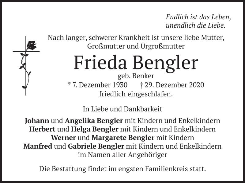 Traueranzeige für Frieda Bengler vom 02.01.2021 aus merkurtz
