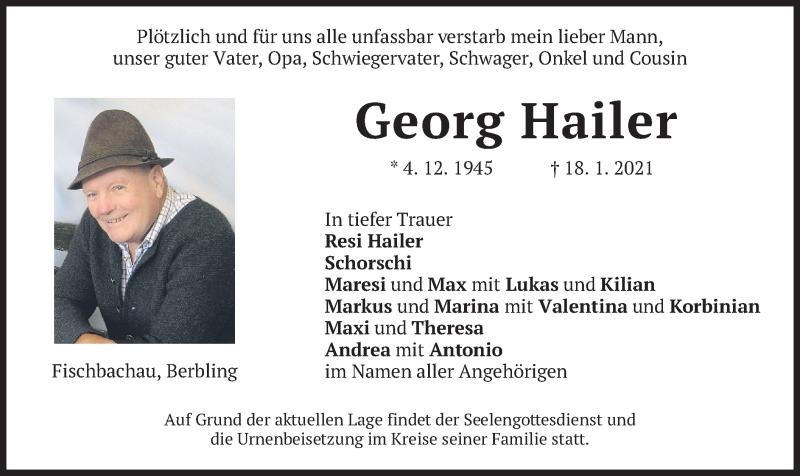 Traueranzeige für Georg Hailer vom 23.01.2021 aus merkurtz