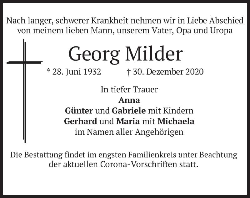 Traueranzeige für Georg Milder vom 09.01.2021 aus merkurtz