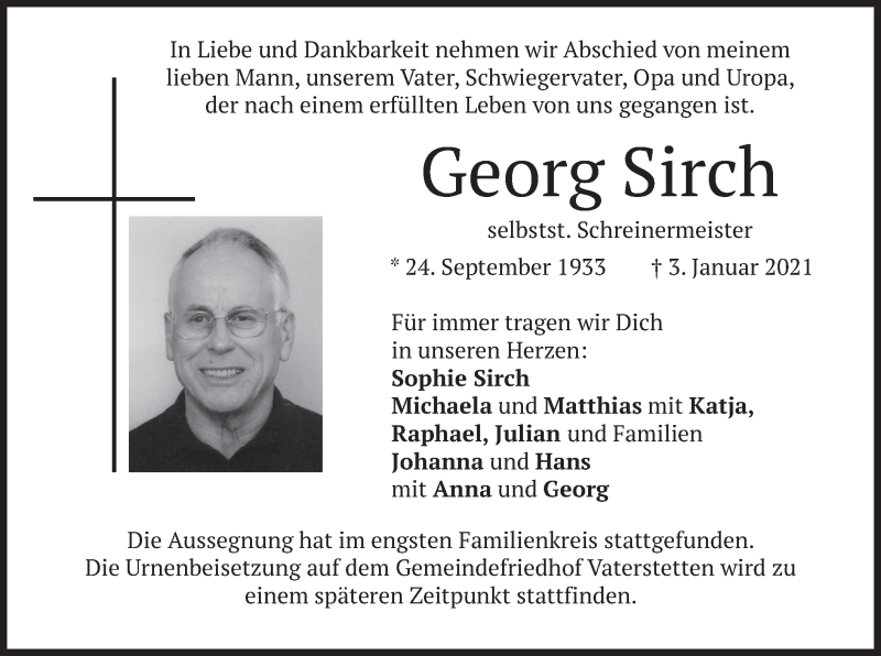 Traueranzeige für Georg Sirch vom 09.01.2021 aus merkurtz