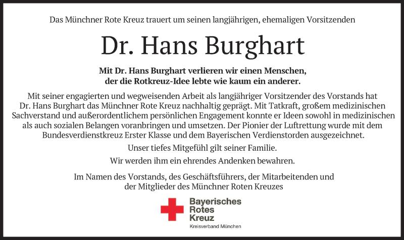 Traueranzeige für Hans Burghart vom 02.01.2021 aus merkurtz