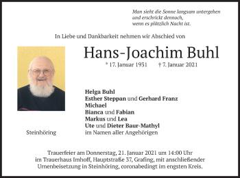 Traueranzeige von Hans-Joachim Buhl von merkurtz