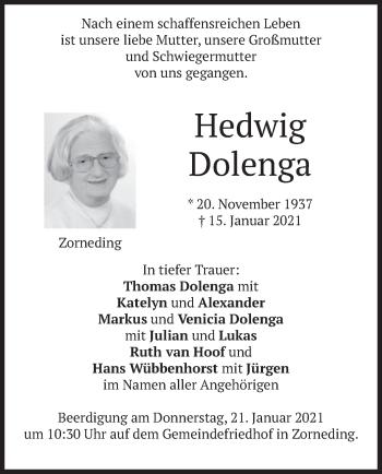 Traueranzeige von Hedwig Dolenga von merkurtz