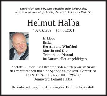 Traueranzeige von Helmut Halba von merkurtz