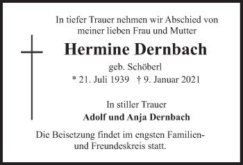 Traueranzeige von Hermine Dernbach von merkurtz