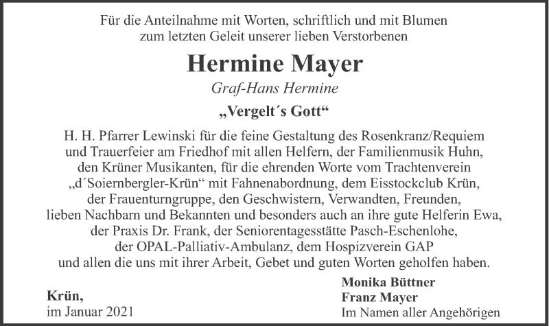 Traueranzeige für Hermine Mayer vom 16.01.2021 aus merkurtz