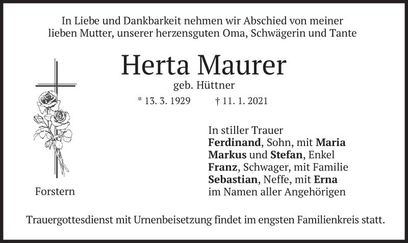 Traueranzeige für Herta Maurer vom 13.01.2021 aus merkurtz