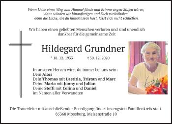 Traueranzeige von Hildegard Grundner von merkurtz