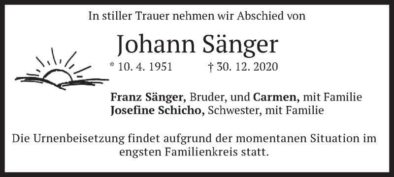 Traueranzeige für Johann Sänger vom 09.01.2021 aus merkurtz