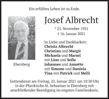 Traueranzeige von Josef Albrecht von merkurtz