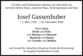 Traueranzeige von Josef Gassenhuber von merkurtz