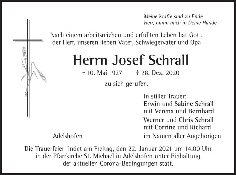 Traueranzeige für Josef Schrall vom 09.01.2021 aus merkurtz