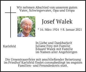 Traueranzeige von Josef Walek von merkurtz