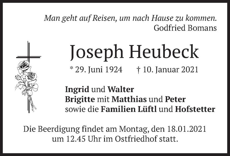 Traueranzeige für Joseph Heubeck vom 16.01.2021 aus merkurtz