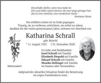 Traueranzeige von Katharina Schrall von merkurtz