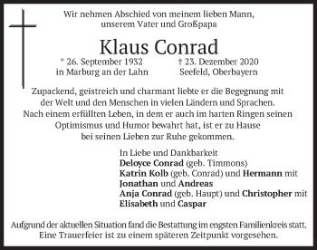 Traueranzeige von Klaus Conrad von merkurtz