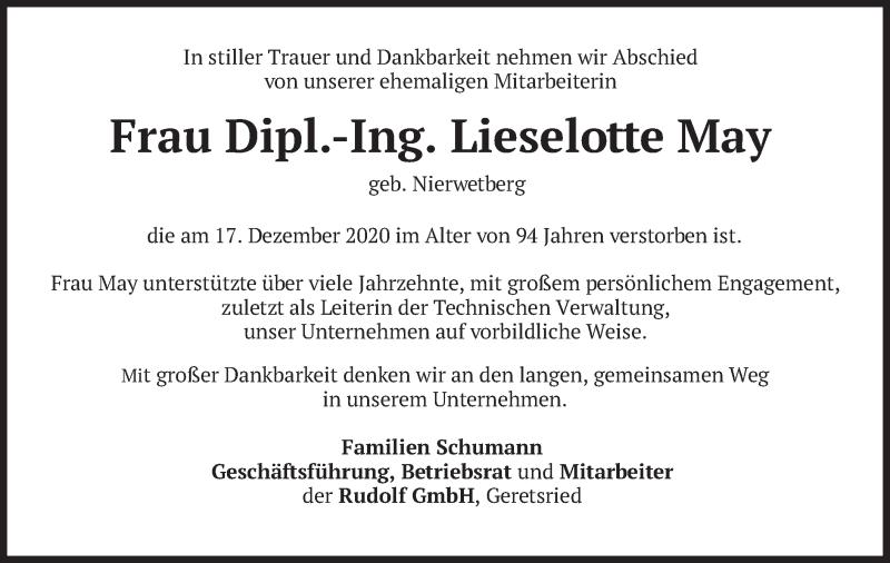 Traueranzeige für Lieselotte May vom 16.01.2021 aus merkurtz