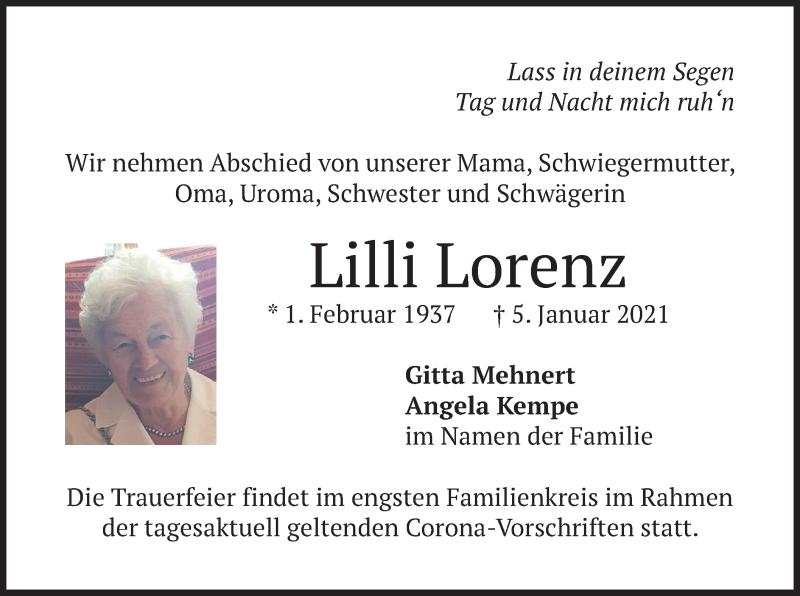 Traueranzeige für Lilli Lorenz vom 09.01.2021 aus merkurtz
