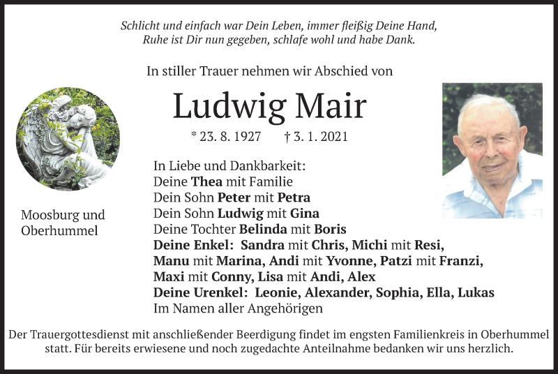 Traueranzeige für Ludwig Mair vom 05.01.2021 aus merkurtz