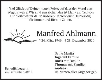 Traueranzeige von Manfred Ahlmann von merkurtz