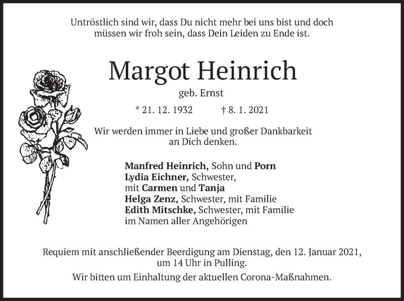 Traueranzeige für Margot Heinrich vom 09.01.2021 aus merkurtz