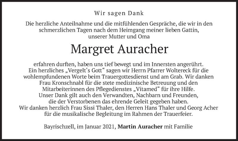 Traueranzeige für Margret Auracher vom 23.01.2021 aus merkurtz