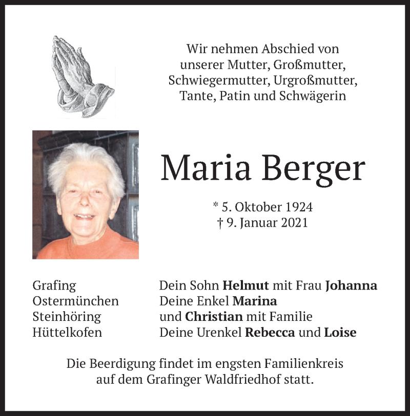 Traueranzeige für Maria Berger vom 12.01.2021 aus merkurtz