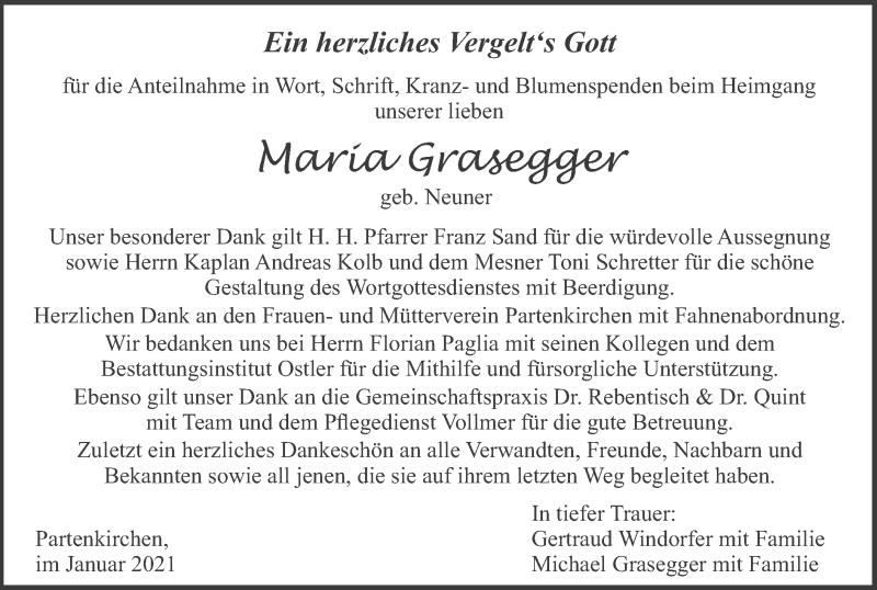 Traueranzeige für Maria Grasegger vom 16.01.2021 aus merkurtz