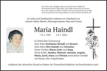 Traueranzeige von Maria Haindl von merkurtz