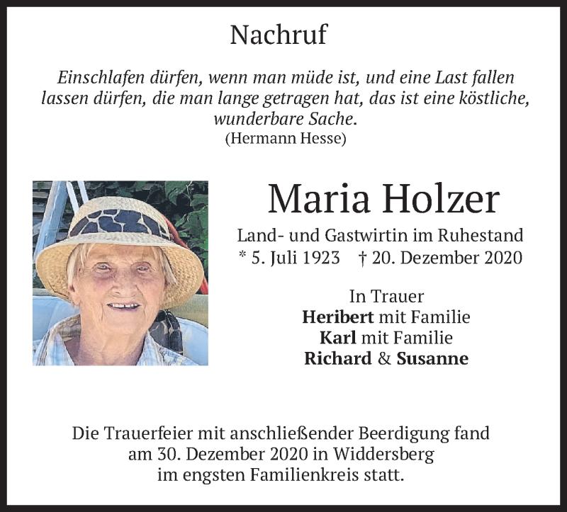 Traueranzeige für Maria Holzer vom 04.01.2021 aus merkurtz