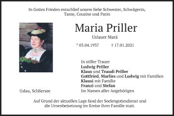 Traueranzeige von Maria Priller von merkurtz