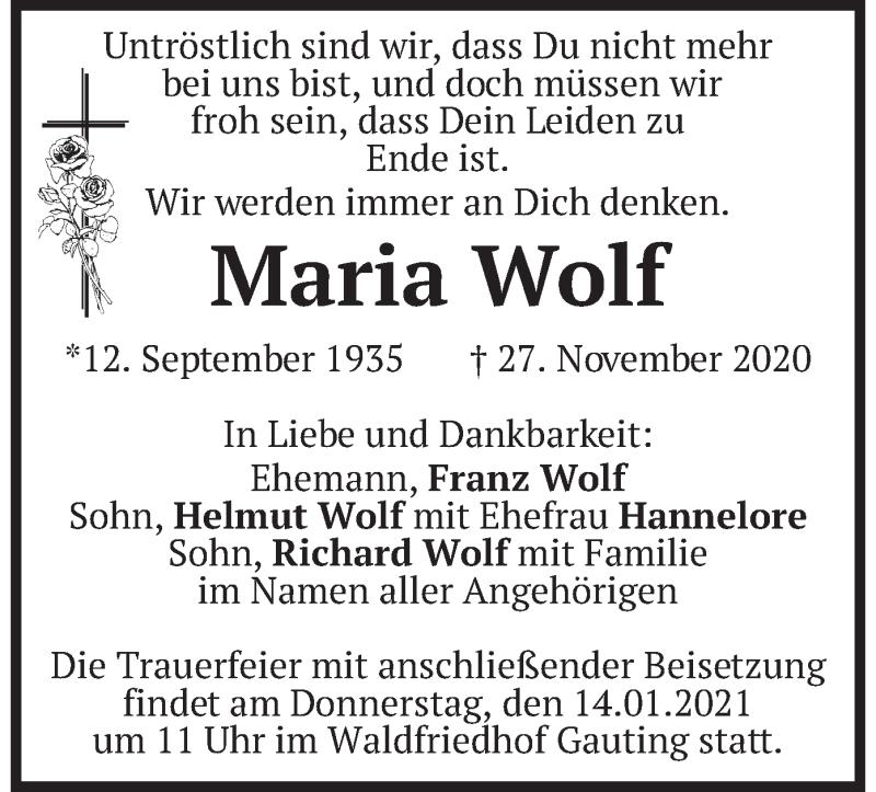 Traueranzeige für Maria Wolf vom 09.01.2021 aus merkurtz