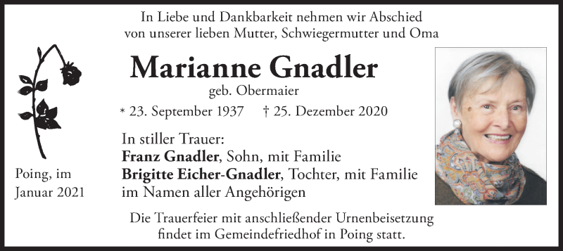 Traueranzeige für Marianne Gnadler vom 15.01.2021 aus merkurtz