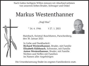Traueranzeige von Markus Westenthanner von merkurtz