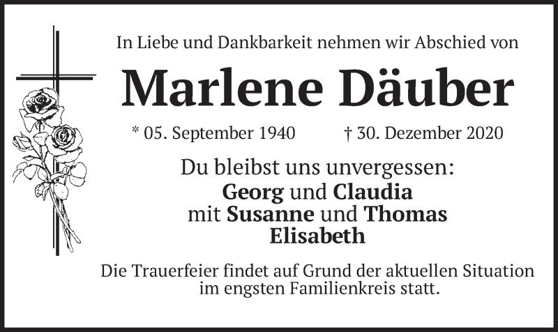 Traueranzeige für Marlene Däuber vom 09.01.2021 aus merkurtz