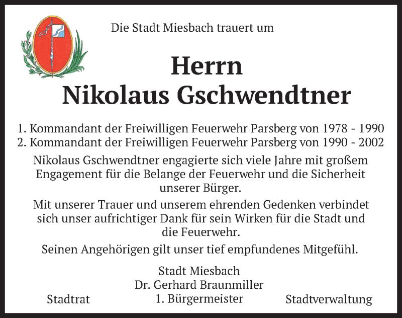 Traueranzeige für Nikolaus Gschwendtner vom 14.01.2021 aus merkurtz