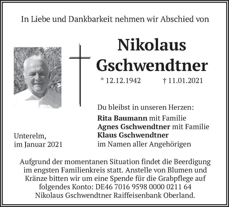 Traueranzeige für Nikolaus Gschwendtner vom 13.01.2021 aus merkurtz