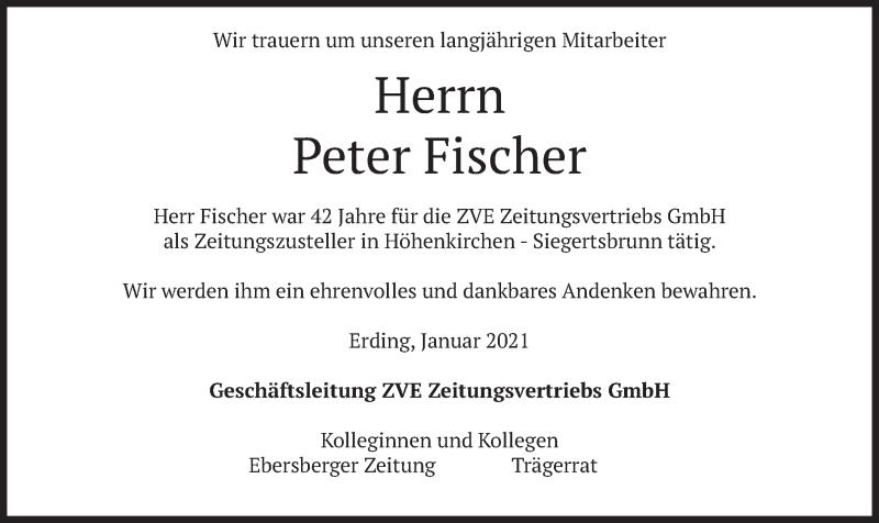 Traueranzeige für Peter Fischer vom 22.01.2021 aus merkurtz