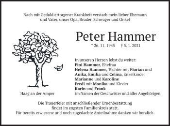 Traueranzeige von Peter Hammer von merkurtz