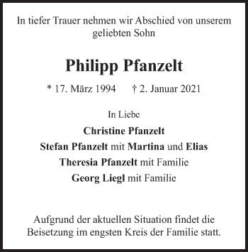 Traueranzeige von Philipp Pfanzelt von merkurtz